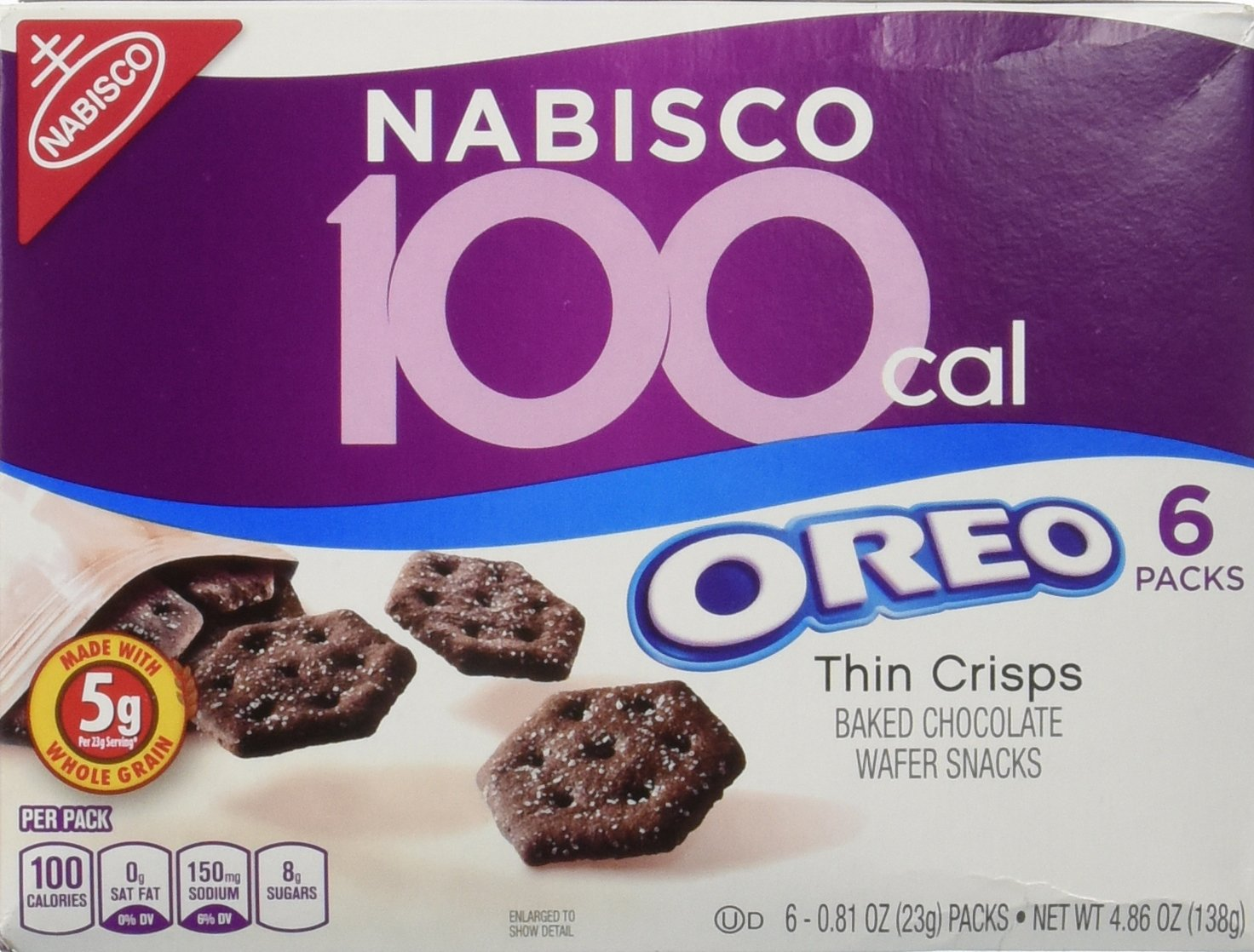 100 Calorie Packs Oreo Thin Crisps, 6-Count Packs, net weight 4.86 oz (Pack of 2) by Nabisco