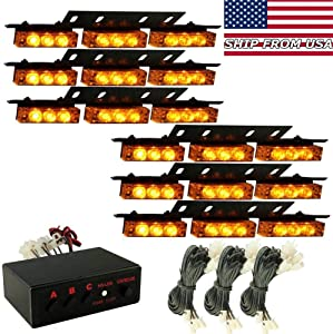 YUFANYA 54 Leds Strobe Light Amber Yellow Deck Dash Grill Light Windshield Emergency Hazard Warning Flashing Lights Car Bar Brake Stop Signal Led Lamp