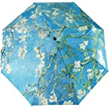 GLODEALS Van Gogh Masterpiece Oil Painting Automatic 3 Folding Parasol Sun Protection Anti-UV Umbrella for Women (Almond Blossom)