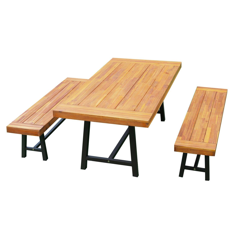 Amazon com outsunny 3 piece 71 acacia wood outdoor picnic table and bench dining set garden outdoor