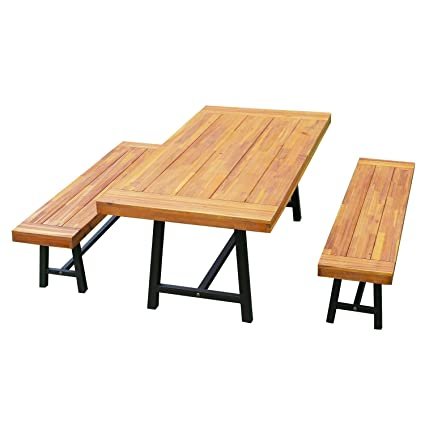 Awesome Outsunny 3 Piece 71 Acacia Wood Outdoor Picnic Table And Bench Dining Set Pabps2019 Chair Design Images Pabps2019Com