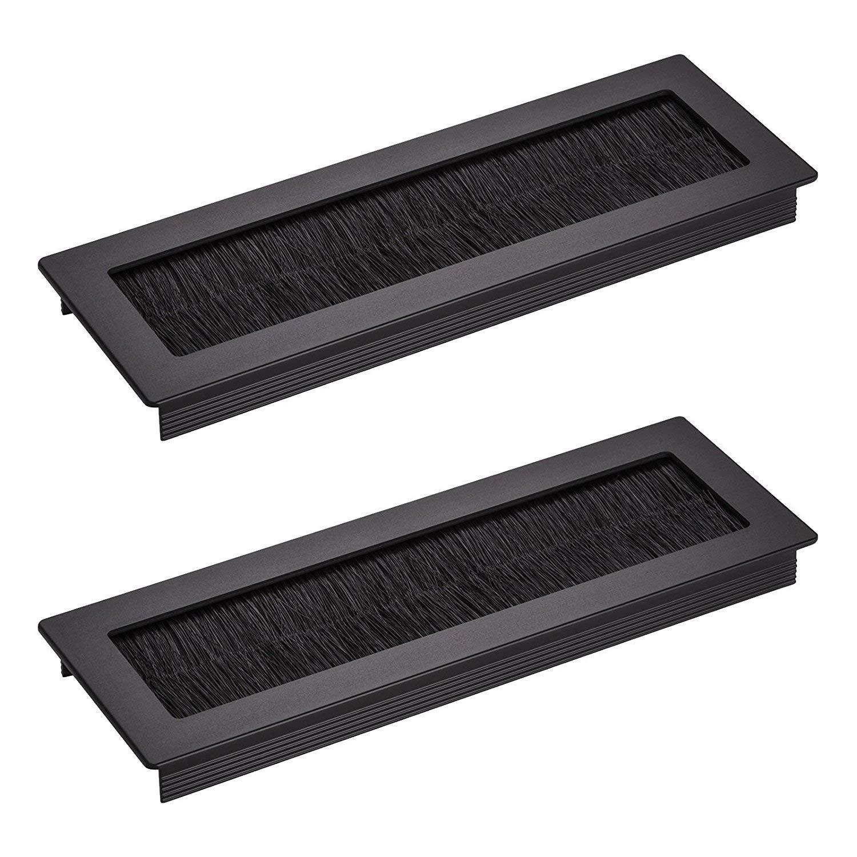 2 x SO-TECH/® Pasacables Escritorio TONDO con Cepillos de Aluminio Negro Anodizado 200 x 70 mm