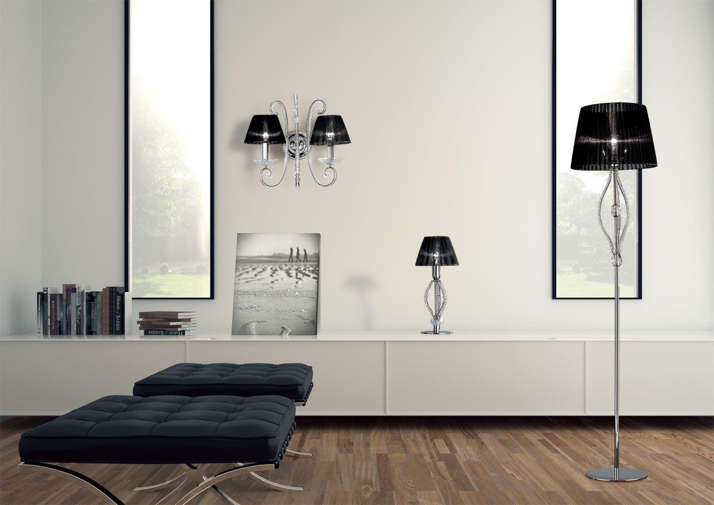 masiero aplique ilcristallo cromo a mano, Made in Italy, Italiano Cristal, pantalla de lámpara
