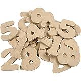 Chiffres en bois - Assortiment, h: 4 cm, épaisseur 2,5 mm, MDF, 30pièces