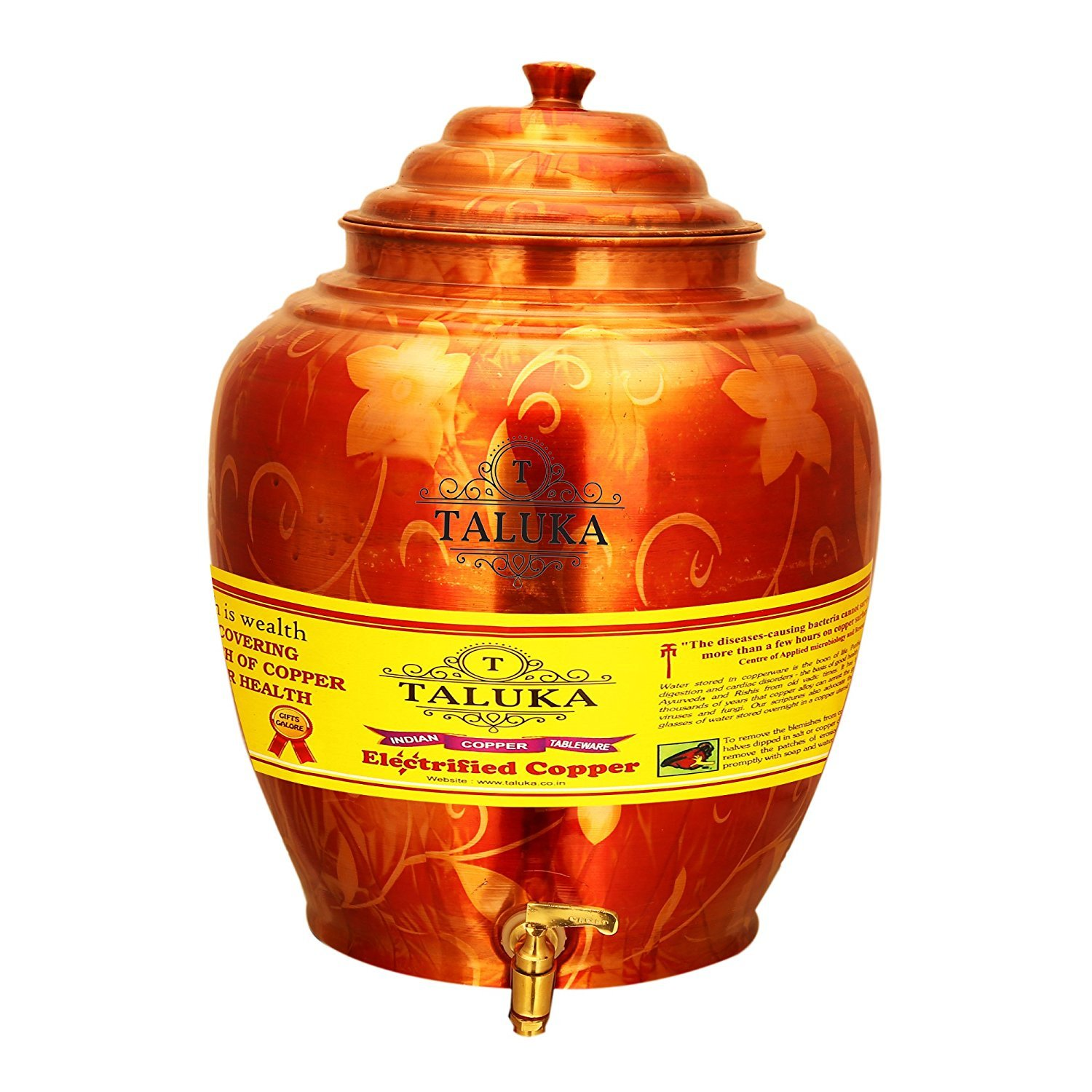 Taluka (Dia:-7'' x Height:-14'' Inches) Healthy Pure Copper Matka Water Pot Dispenser Water Tank Water Storage Capacity :- 541 Oz For Storage Kitchen Health Beneifts Yoga Ayurveda Weight :- 1600 Grams