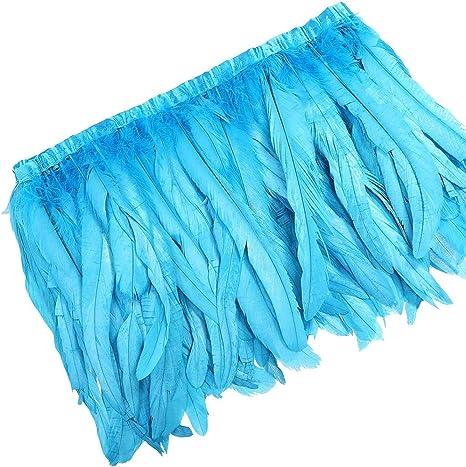 WIBEN - Juego de plumas de gallo para coser o disfraz (1 metro, 25 ...