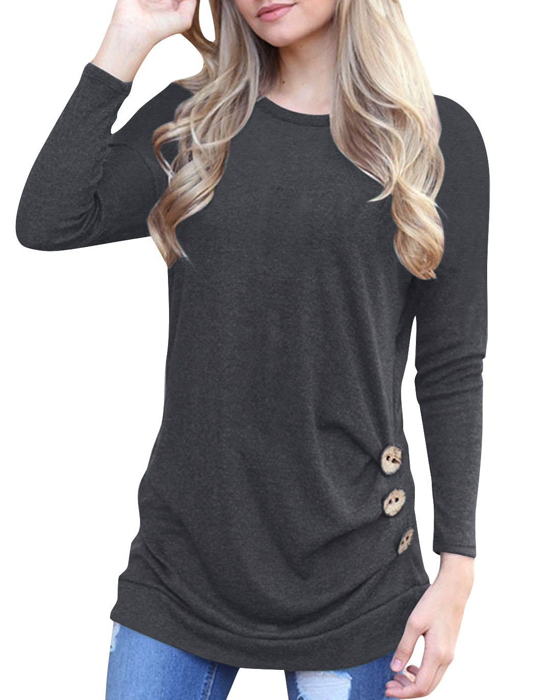Doris Kids Women's Casual Tunic Top Sweatshirt Long Sleeve Blouse T-Shirt Button Decor Grey XL