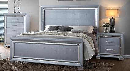 Beau Soflex Jenny Silver Crocodile Texture Bedroom Set 3 Pcs Traditional  Contemporary (King)