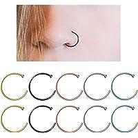 YHmall Edelstahl Scharnier Clicker Septum Piercing Nasenring Fake Hoop Lippen Ohr Ring - 8mm MEHRWEG