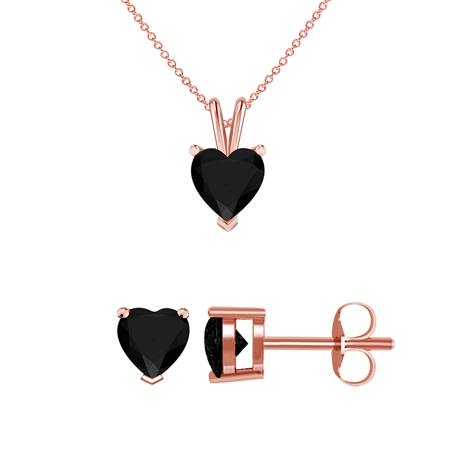 DreamJewels Heart Shape Brilliant Cut Created Black CZ Diamond Solitaire Pendant and matching Earrings for Women Jewelry Set in 14K Rose Gold Fn Alloy
