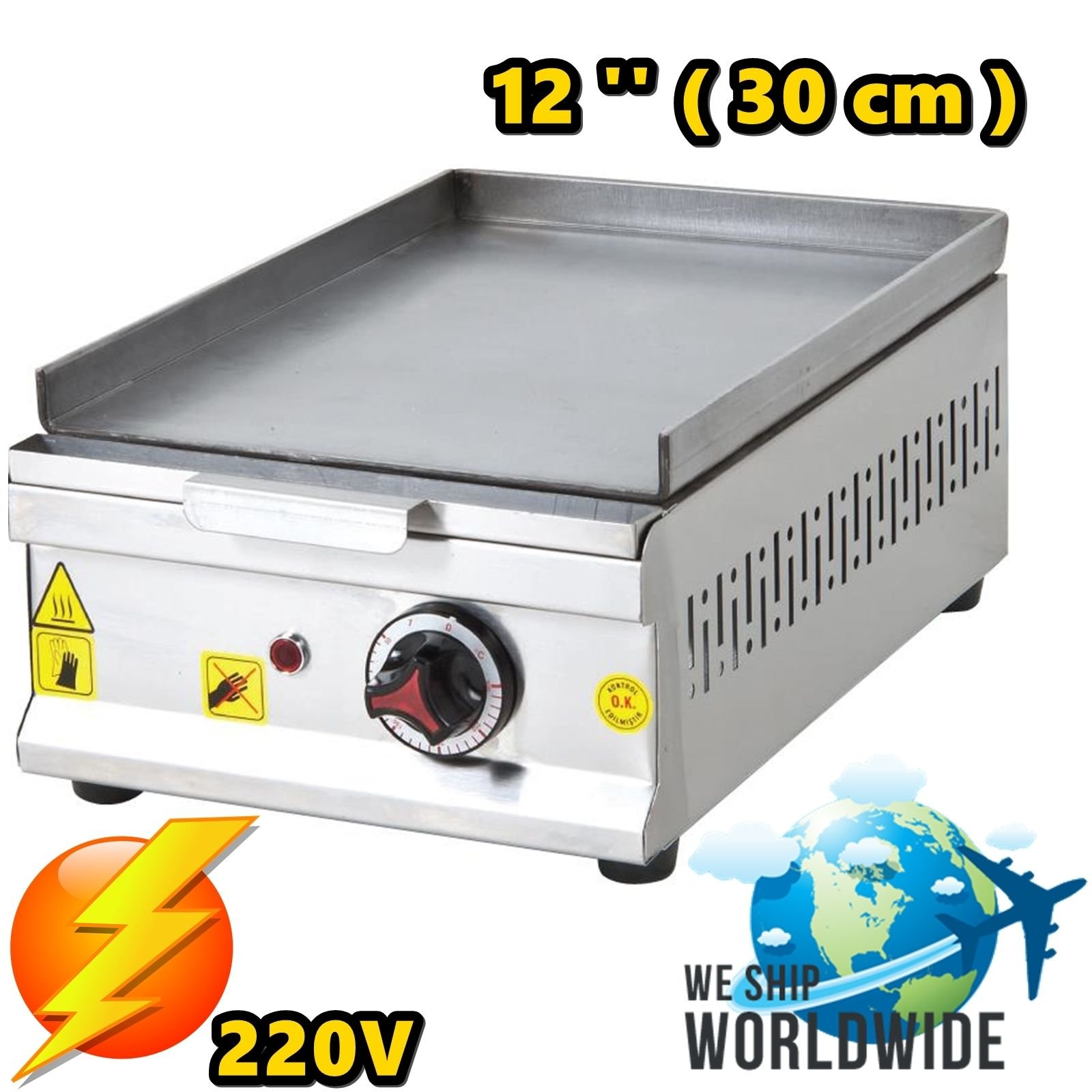 12 '' ( 30 cm ) ELECTRIC Commercial Kitchen Equipment Countertop Flat Top Restaurant Grill Stove Cooktop Manual Griddle 220V
