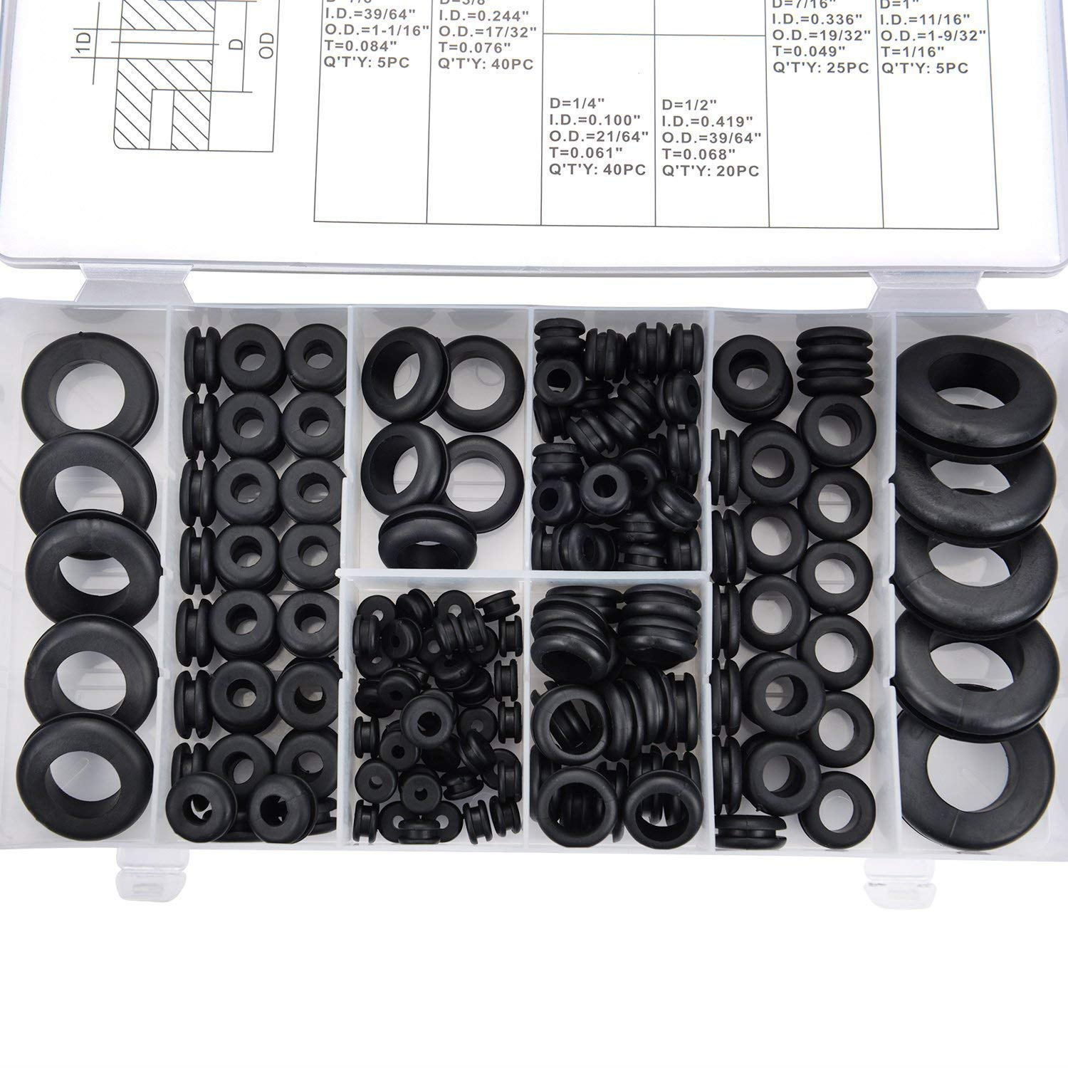 Allnice Black Rubber Grommet Eyelet Ring Electrical Conductor Gasket Wiring Grommets Assortment Kit For Protecting Wires