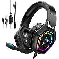 havit Wired Gaming Headset voor PS5, gaming hoofdtelefoon RGB met 50MM Driver, In-Line Control & HD Microfoon, Gaming…