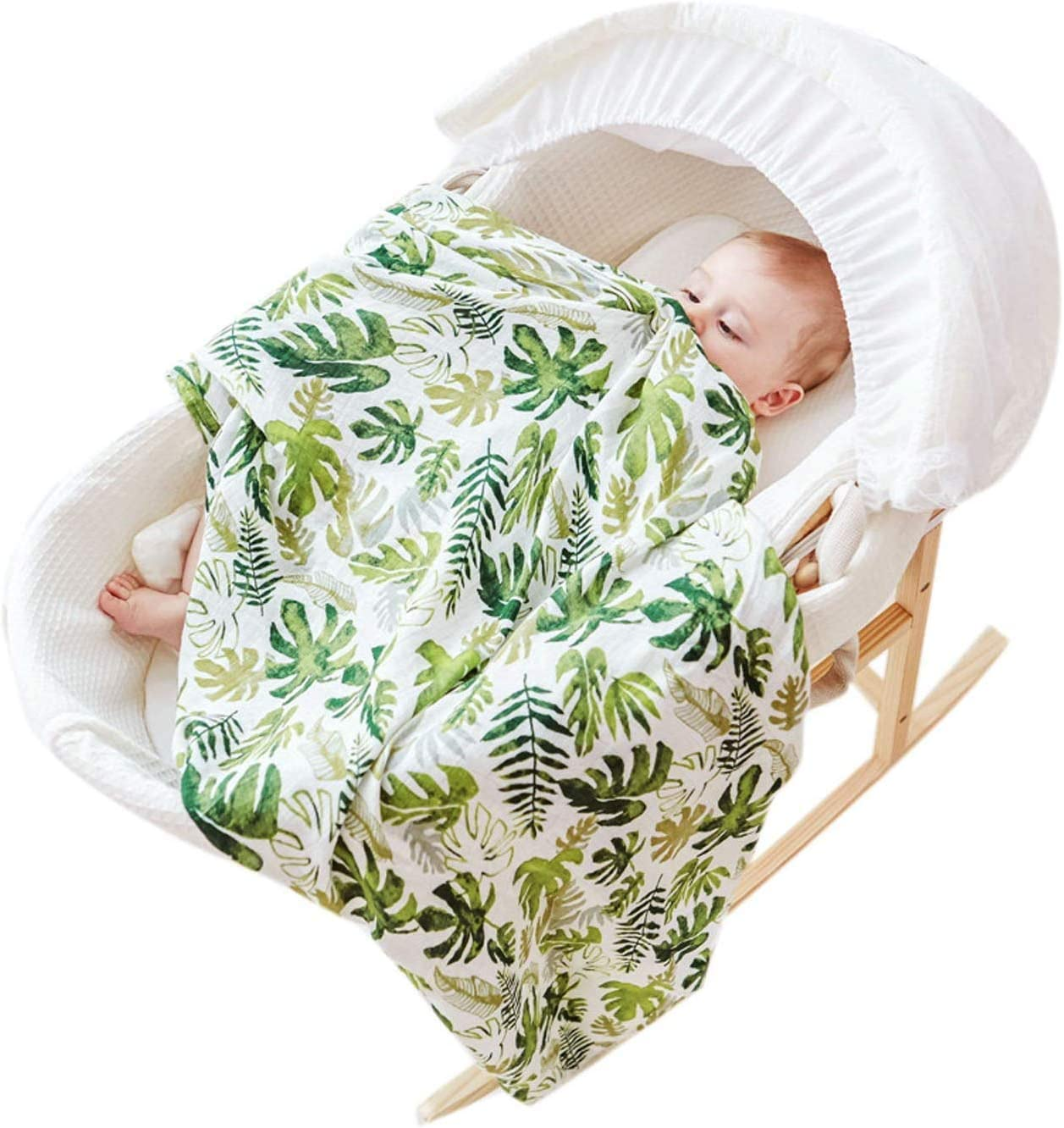 Baby blanket with soft cotton muslin green leaf design to wrap bedding RENS bath towel