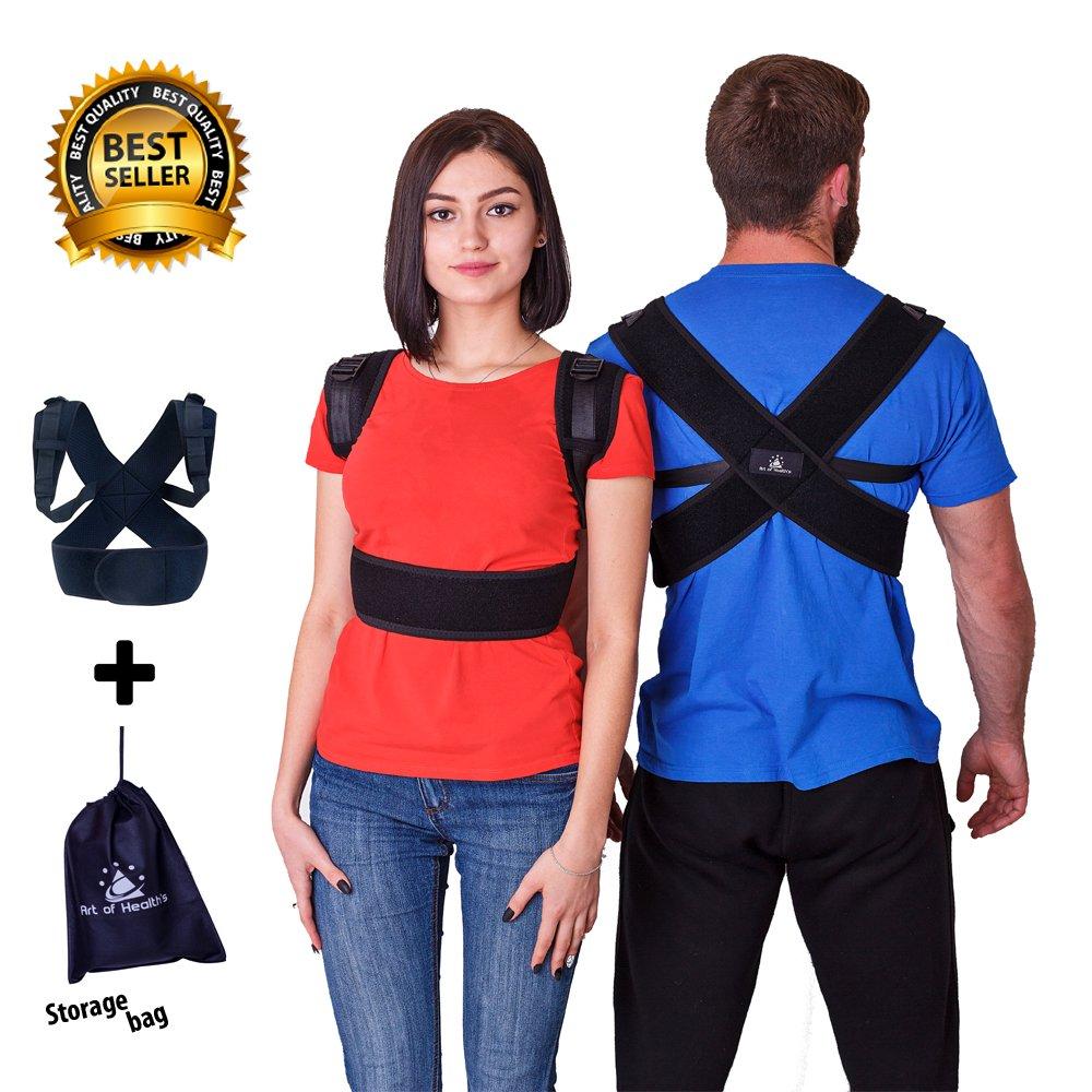 Art of Health Posture Corrector - Orthopedic Clavicle Support Brace - Medical Upper Back Posture Corrector - For Men & Women - Storage Bag Included, Size- (41-49)