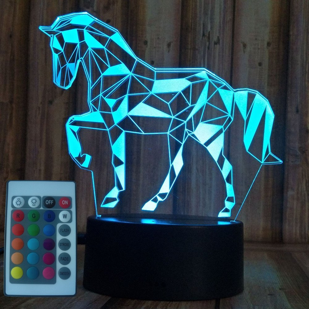 Xmeilo 16 LED Color 3D Illusion Platform Night Lighting Touch Switch Table Desk Decor LED Lamp with Remote Control Horse