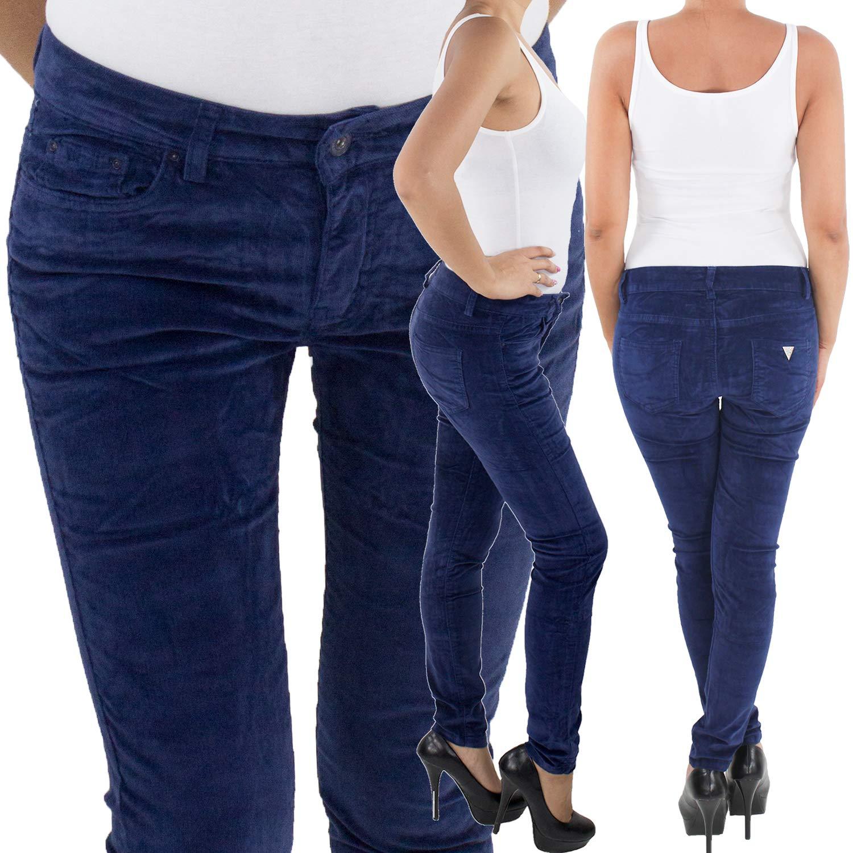 Damen Röhren Cordhose bis Übergröße Big Size Hose Skinny Stretch Kord 3 Farben