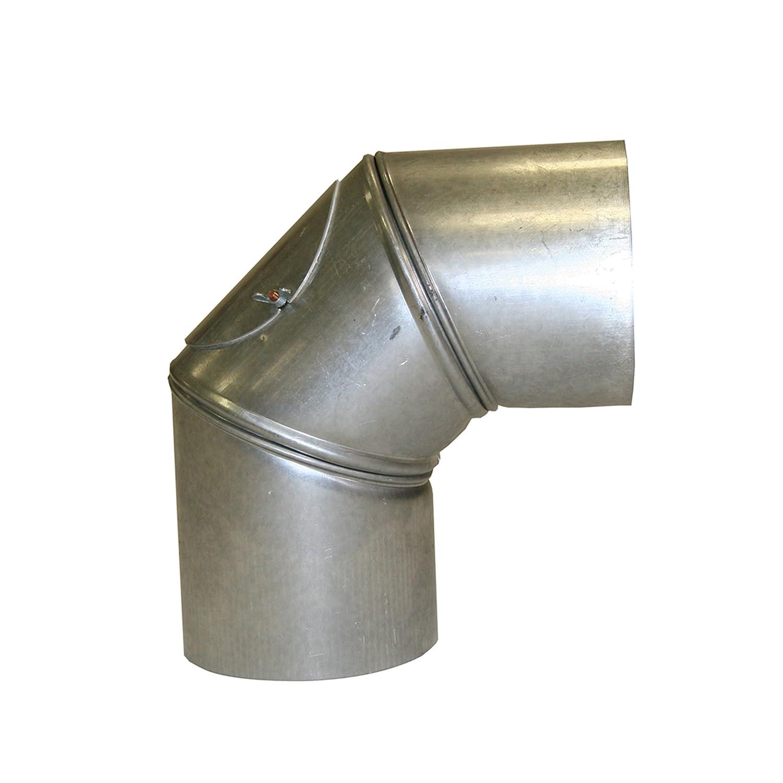 Kamino Flam Bogenknie silber mit T/ür 100 mm Abgasrohr aus feueraluminiertem Stahl Winkel von 90/° Durchmesser: ca gepr/üft nach Norm EN 1856-2 rostfreier Rohrbogen