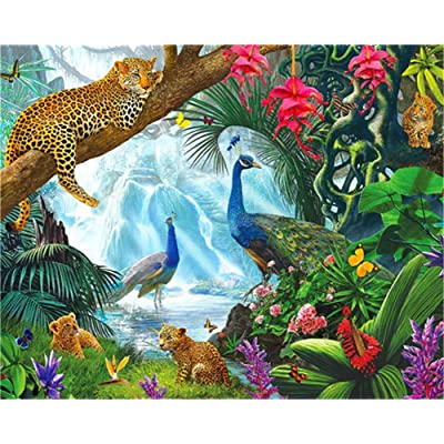 TianMaiGeLun Paint by Number Kits - Forest Animals 16x20 inch Linen Canvas Paintworks Digital Oil Painting Canvas Kits Adults Children Kids Decorations Gifts (No Frame): Toys & Games