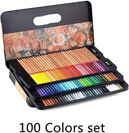 24/36/48/72/100 lápices profesionales de colores grasos lapiceros de colores para dibujo de colores Set Art Supplies,Caja de hierro 100 colores: Amazon.es: Oficina y papelería