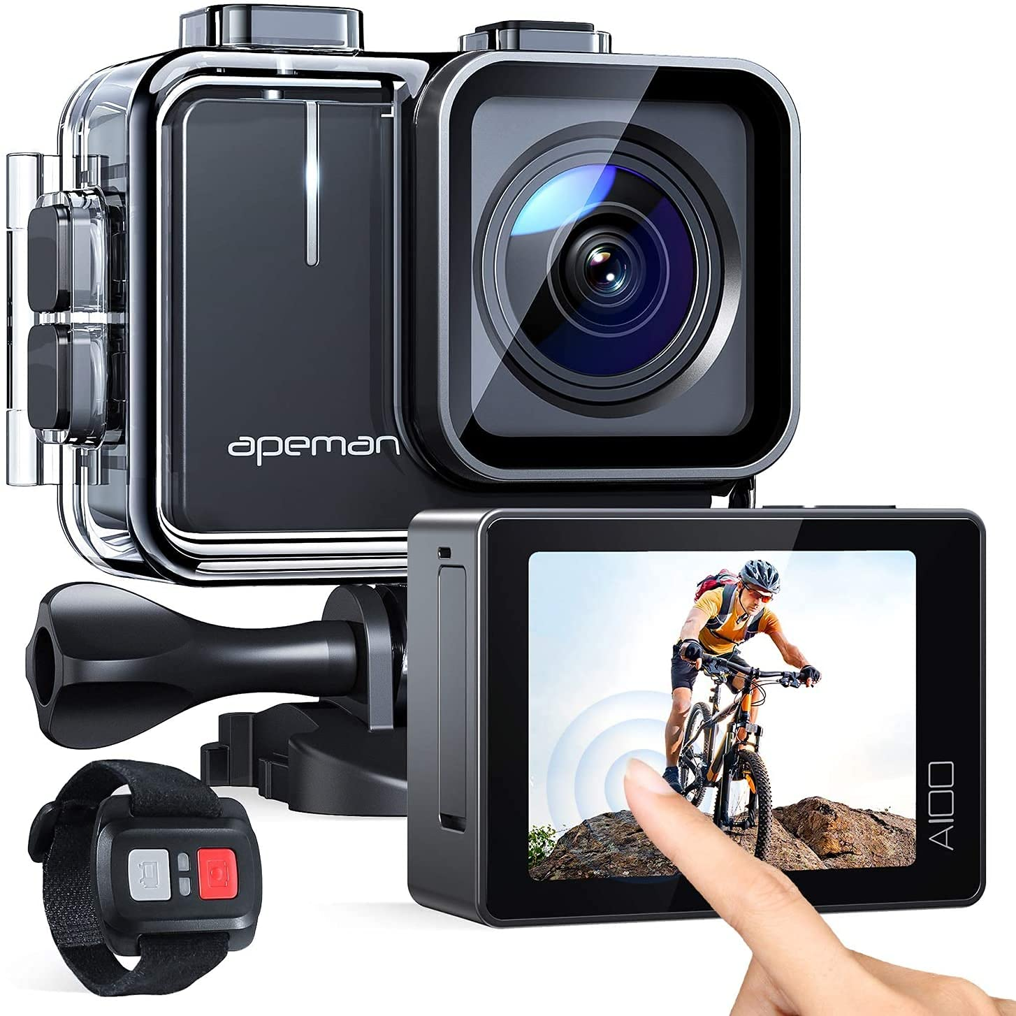 APEMAN A100 Action Camera 4K 50fps Touchscreen Ultra HD 20MP WiFi Sports Underwater Waterproof 40M Camcorder cam with EIS Remote Control Dual 1350 mAh Batteries and Mounting Accessories Kit