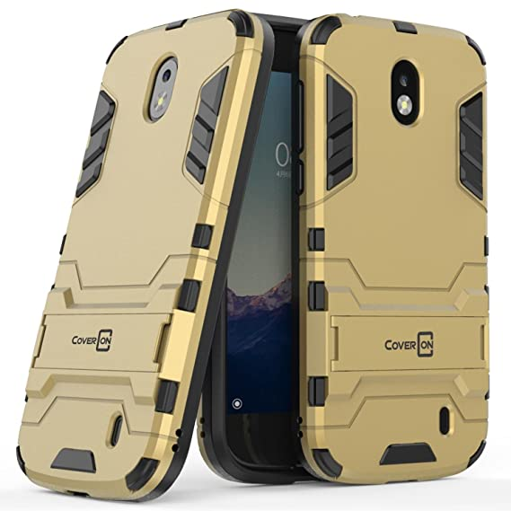best cheap 238eb 2617c Nokia 1 Case, CoverON [Shadow Armor Series] Hybrid Slim Fit Matte Phone  Cover with Kickstand for Nokia 1 (2018) - Gold & Black