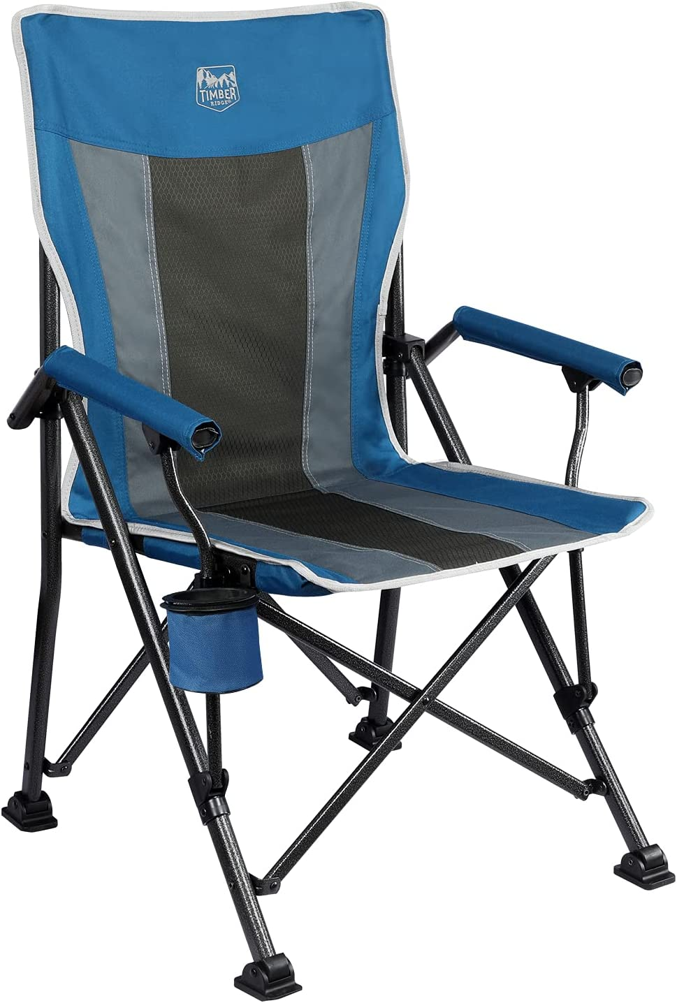 TIMBER RIDGE Ovesized Folding Camping Chair with Padded Hard Armrest, High Back Lawn Chair with Cup Holder, Portable Outdoor Chair Heavy Duty 400lb for Fishing, Hiking, Including Carry Bag (Blue)