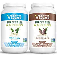 Vega Protein & Greens Bundle, Chocolate + Vanilla (25 Servings Each) - Plant Based Protein Powder, Keto-Friendly, Gluten Free, Non Dairy, Vegan, Non Soy, Non GMO, Lactose Free