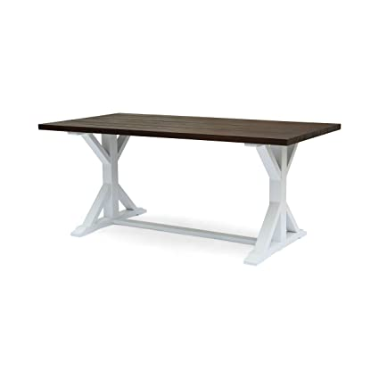 Mayo Farmhouse Table | Acacia Wood | Dark Brown With White Legs | Rustic |  Traditional