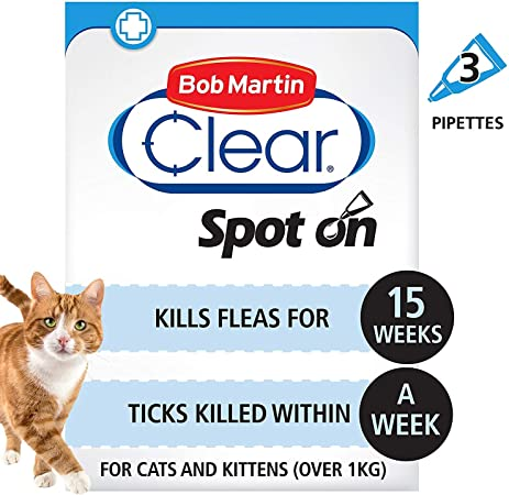 Bob Martin Clear Flea Tick Clear Fipronil Cat Spot On Solution 3 Tubes Amazon Co Uk Pet Supplies