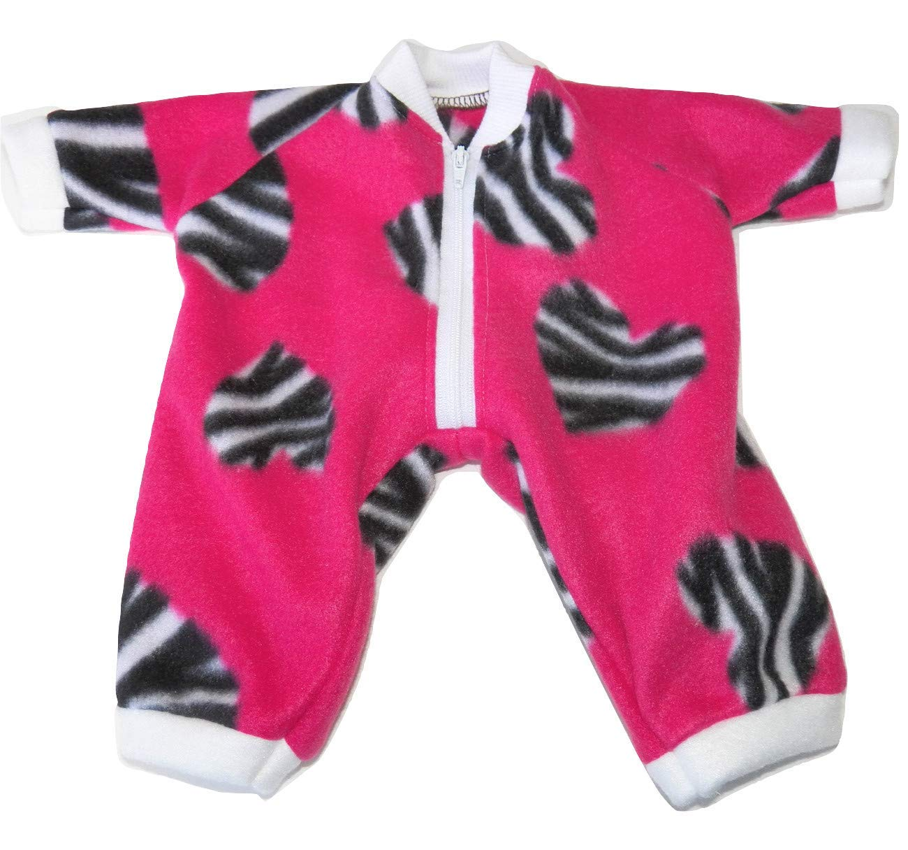 Pink Zebra Heart Pant Romper fits Bitty Baby or Cabbage Patch 14' GIRL Doll Clothes