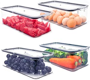 Aimacro Stackable Clear Refrigerator Organizer Bins with Sealing Lid, Smell Proof and Keep Fresh, Unique Easy Slide Out Handles, Large Fridge Freezer Organizer for Food Storage (4 Pack)