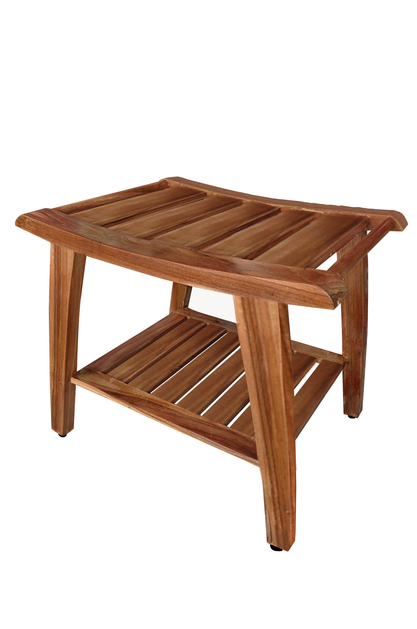 Grade-A All Teak Wood Shower / Bath Room / Pool Bench Stool with Shelf
