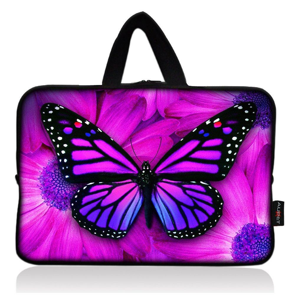 AUPET Purple Butterfly Universal 7 ~ 8 inch Tablet Portable Neoprene Zipper Carrying Sleeve Case Bag