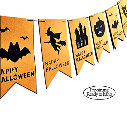 halloween party banner assembled with pumpkinbats ghost monster house