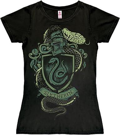 Logoshirt Harry Potter - Escudo - Slytherin Logo - Serpiente Camiseta para Mujer - Negro - Diseño Original con Licencia: Amazon.es: Ropa y accesorios