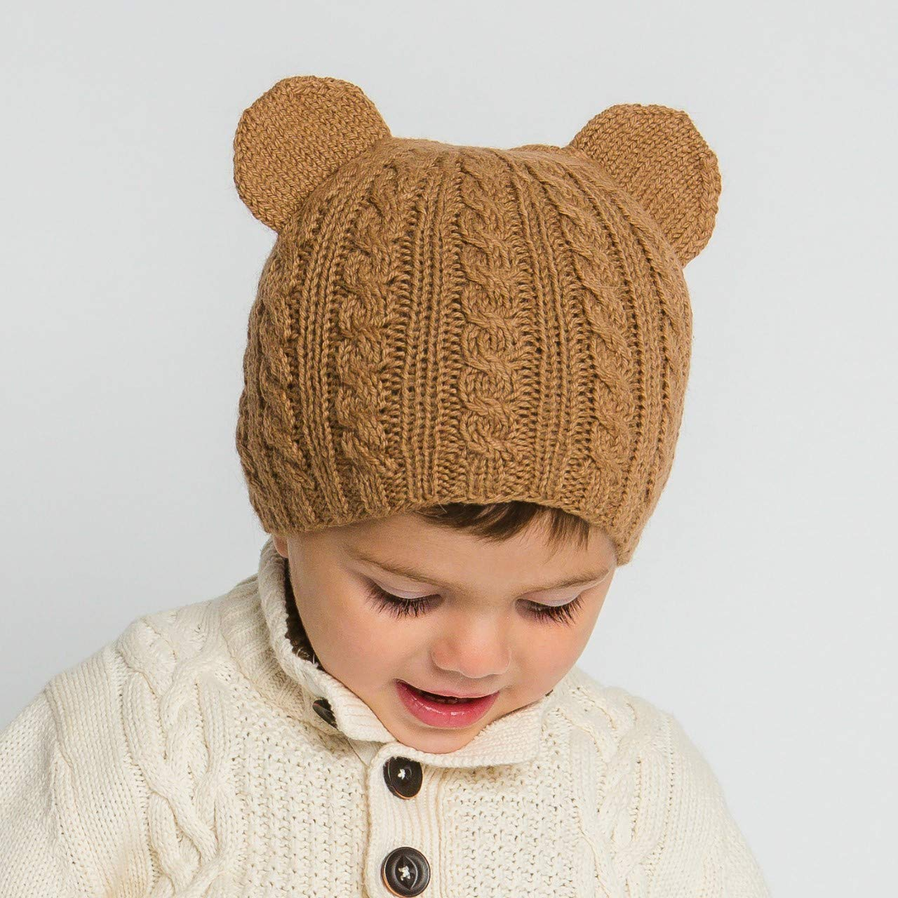 Hand-Knit 100% Organic Alpaca Wool | Pasco Bear Beanie Hat 2T-5T (Brown) by Surhilo | Soft, Quality, Hypoallergenic | The Perfect and Eco-Friendly Way to Keep Your Baby and Toddler Cozy & Comfortable