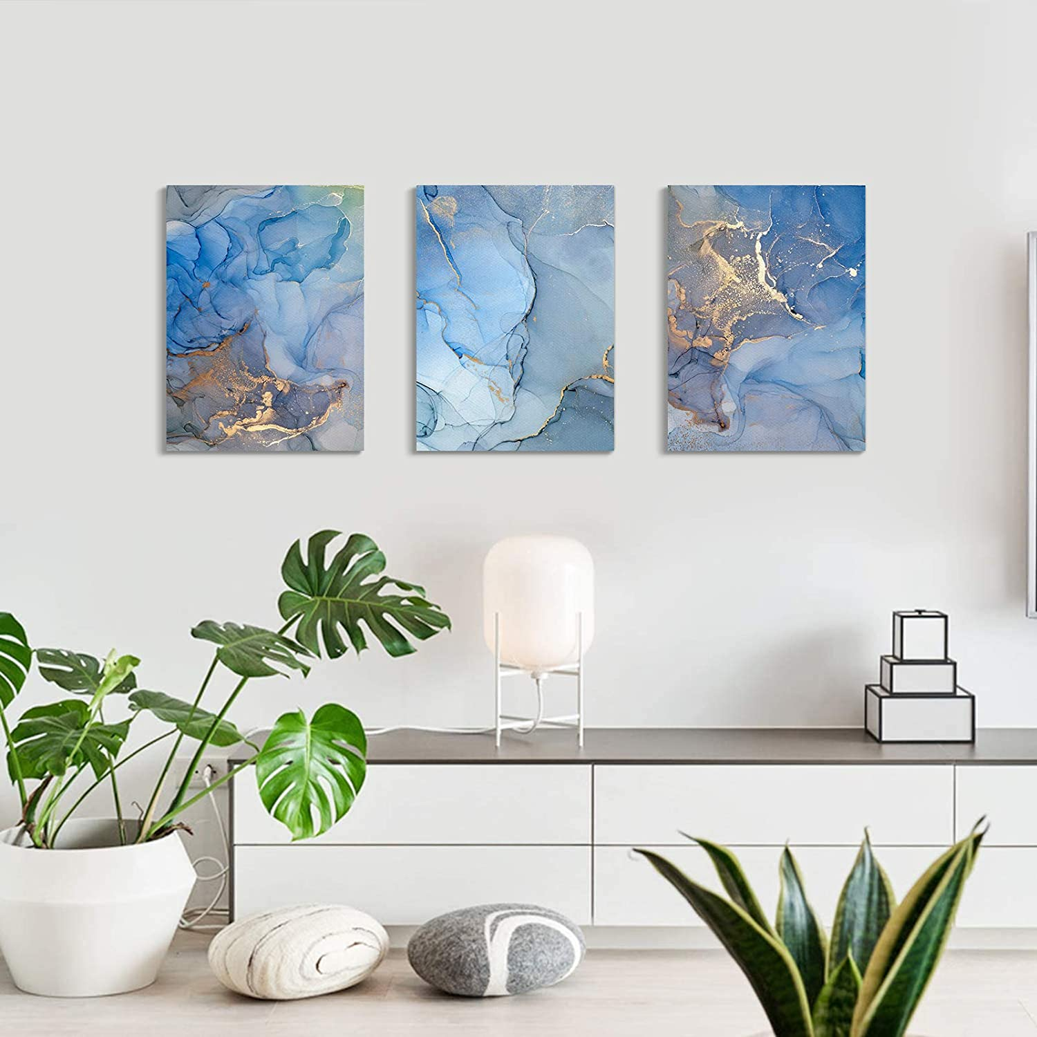 Emvency Canvas Wall Art for Bedroom Living Room, Blue Abstract Watercolor Painting Canvas Prints Artwork Wall Decor 12x16 inch/piece, 3 Pieces Modern Painting Ready to Hang Office Home Decorations