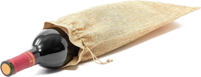 24 Count Tan Juvale Jute Burlap Wine Bags