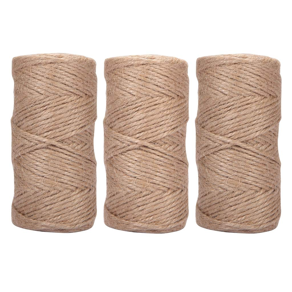 1//8 inch 3 ply Natural Jute Twine String Rolls for Packing String Artworks Crafts c. 213 Yards Picture Display and Gardening 3mm Quotidian 640 Feet Gift Wrapping