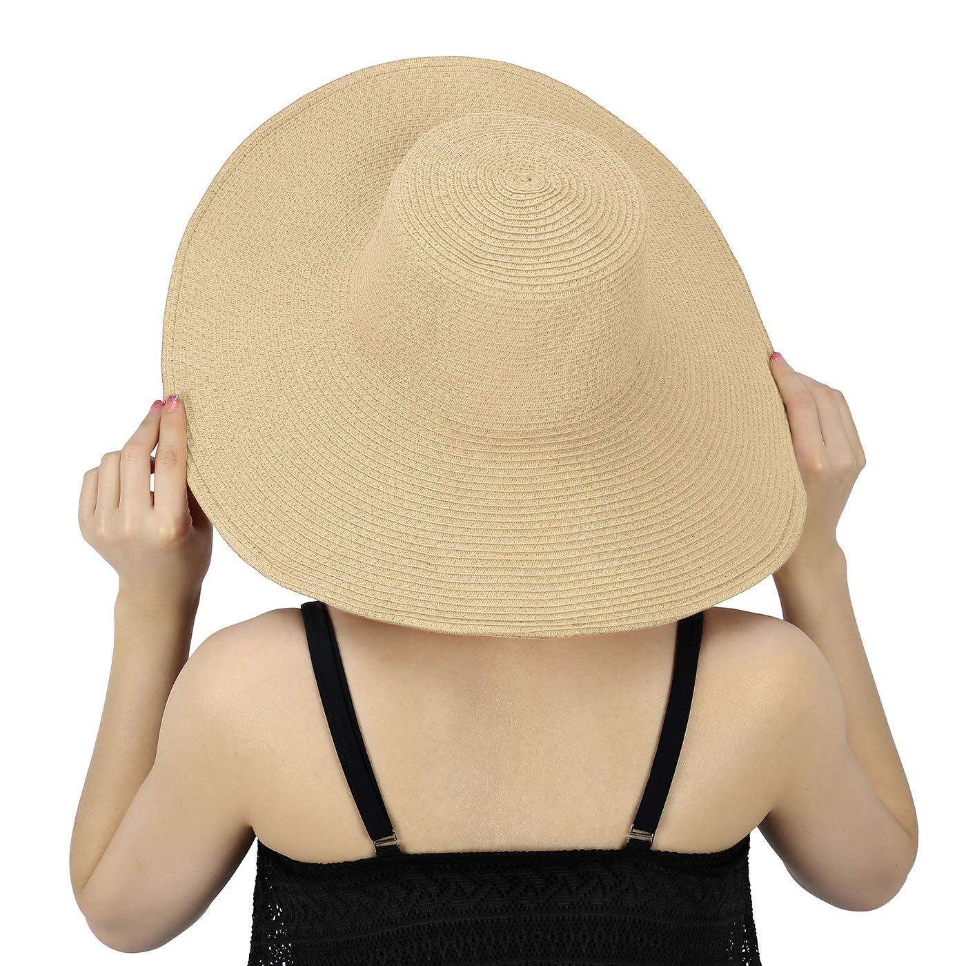 HDE Tan Sun Hat for Women Tan Straw Beach Hat Tan Derby Hats Cap 50+ UPF at  Amazon Women s Clothing store  7eee9f2cbf0c