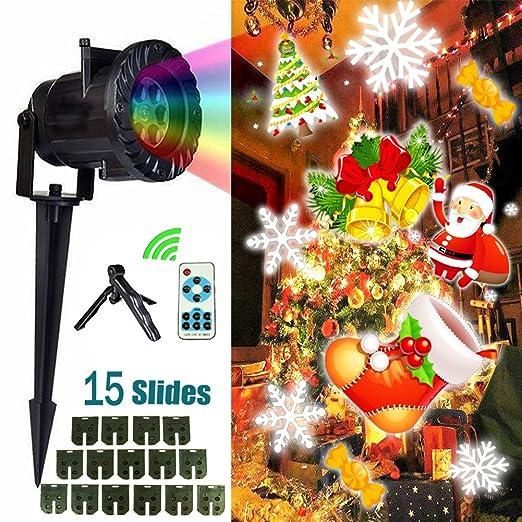 Proiettore Luci Natalizie Per Interno.Proiettore Luci Natalizie Luban Led Proiettore Luci Di Natale 15 Lenti Intercambiabili Telecomando Ip65 Impermeabile Esterno Interno Per