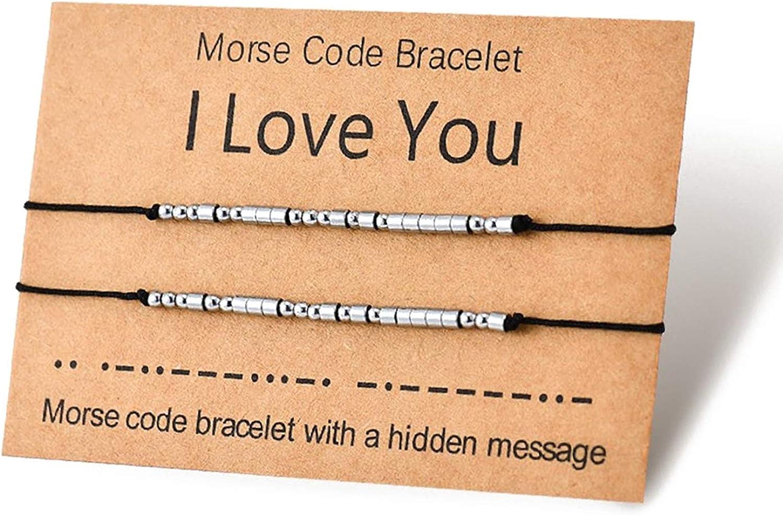Shonyin Love Bracelets Morse Code Couples Matching Bracelet Handmade Anniversary Jewelry for Women Men Her Him Best Friend