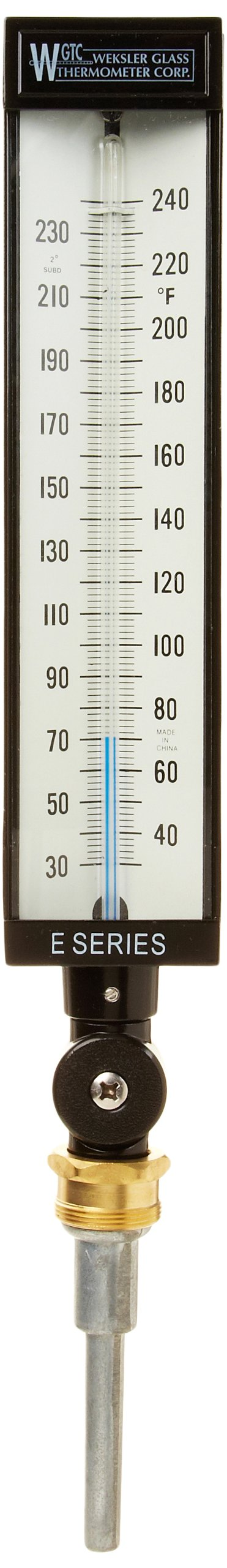 PIC Gauge AS5H9EA-K 9'' Scale, 3-1/2'' Stem Length, 30/240° F Temperature Range Eco-Red Spirit Filled Industrial Thermometer with Aluminum Case, and Adjustable Angle