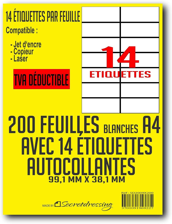 L7163 SECRETDRESSING /® compatible MON TIMBRE EN LIGNE - 99,1 x 38,1 mm 100 planches A4 de 14 = 1400 /étiquettes autocollantes papier adh/ésif blanc TVA DEDUCTIBLE