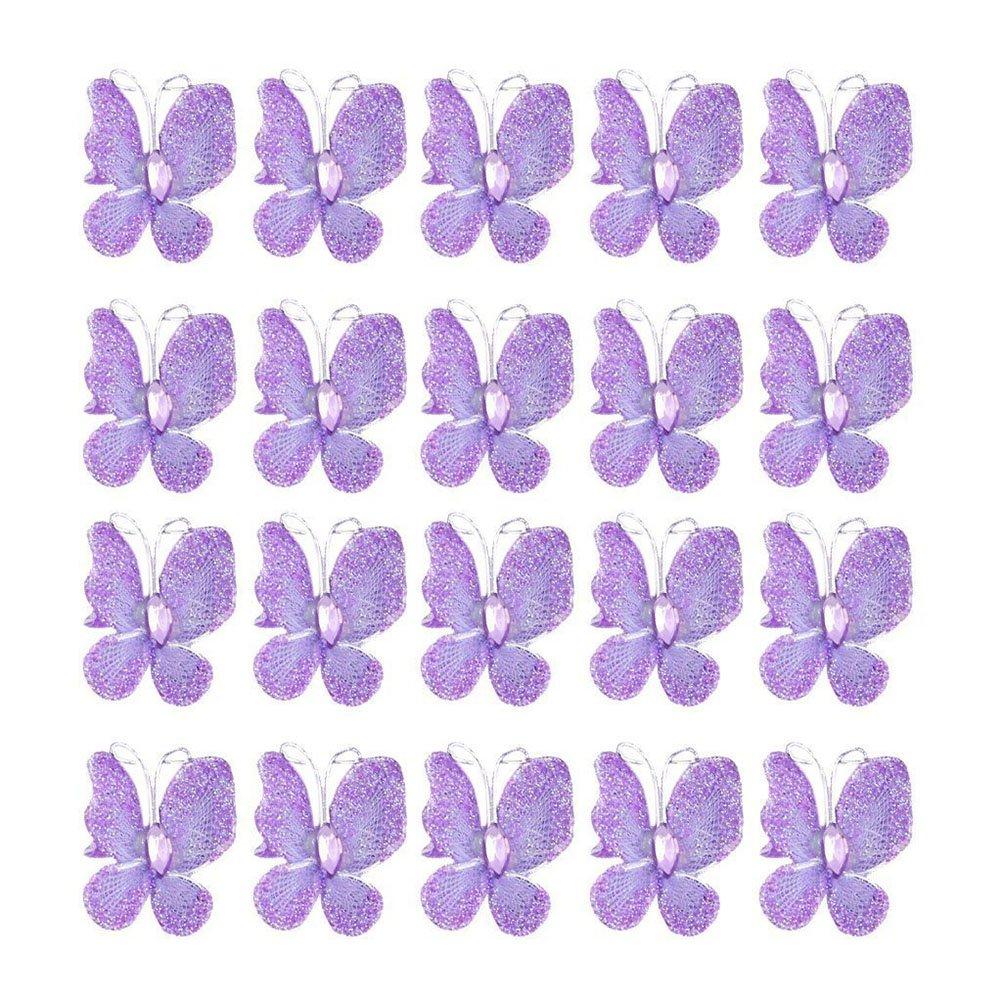 WINOMO Sheer Mesh Wire Glitter Butterfly with Gem 50pcs (Purple)