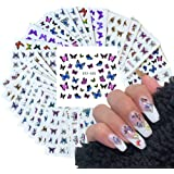 30 Sheets Butterfly Nail Art Stickers for Acrylic Nails Water Transfer Decals for Women Nail Art Design Sticker Manicure…