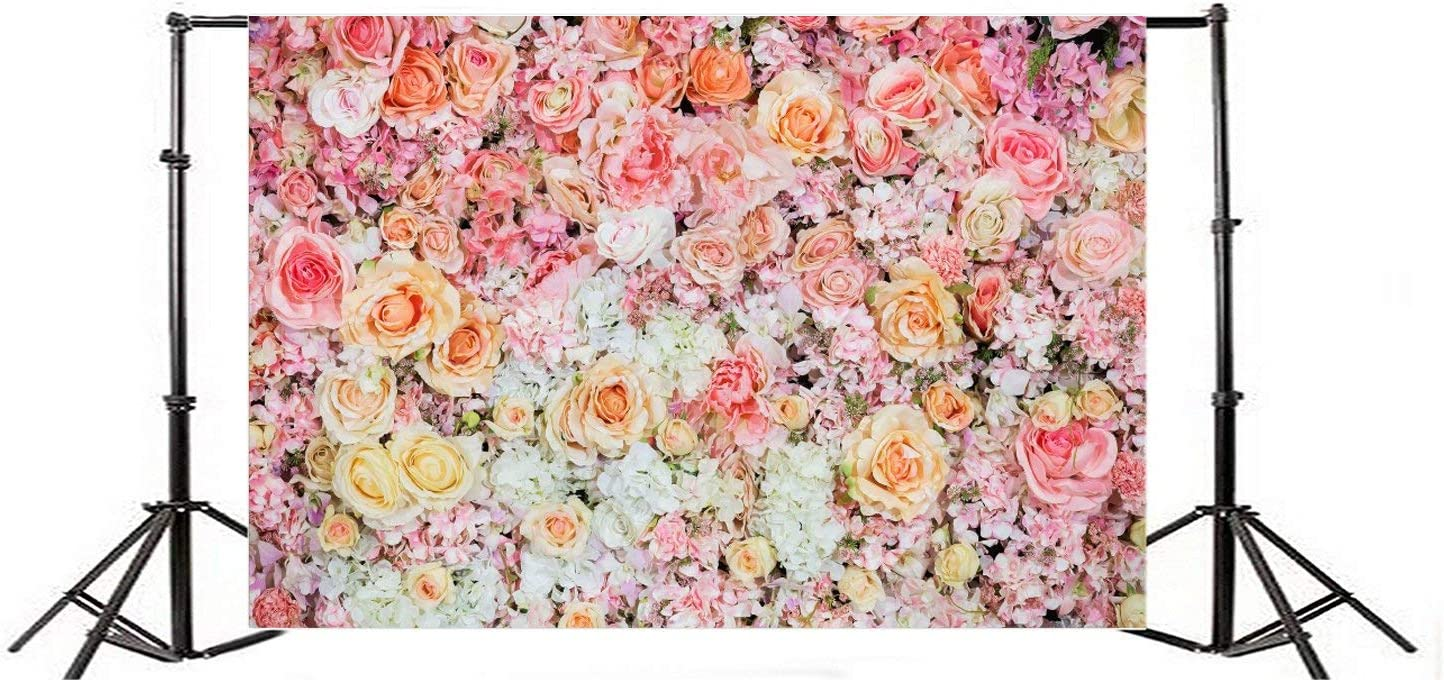 Colorful Flowers Background 5x3ft Abstract Artificial Wedding Party Decoration Photography Backdrop Floral Blooming Texture Photo Background Realistic Effect