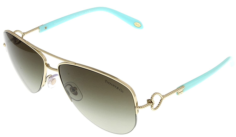 8b1f413c4cb0 Amazon.com  Tiffany   Co Sunglasses Women Gold Aviator TF3046 60213M   Clothing
