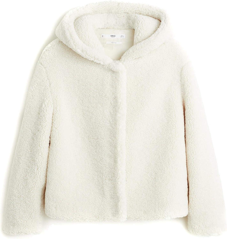 MANGO Women's Hooded Faux Shearling Jacket 53027016 (Medium) White:  Amazon.co.uk: Clothing